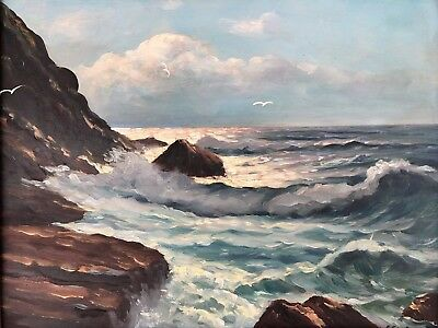 Frank Ferruza Original Oil Painting Coastal Seascape Signed