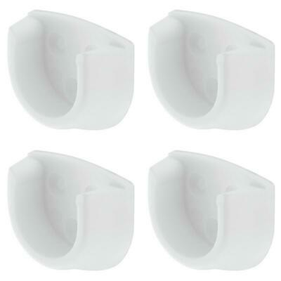 4 X White Rail End Supports Brackets For Oval Wardrobe Rails Poles Hanging 20Mm