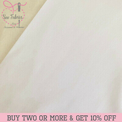 White 100% Craft Cotton Solid Fabric Plain Quilting Plain material