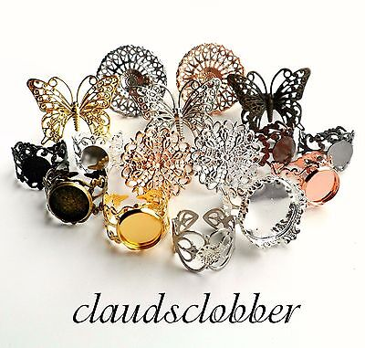 Filigree Ring Blanks Crown Butterfly Pad Gold Silver Black Gunmetal Copper Rose