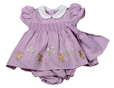 Baby Girls Spanish Style Romany Lilac Gingham Smocked Dress Pants Headband S19