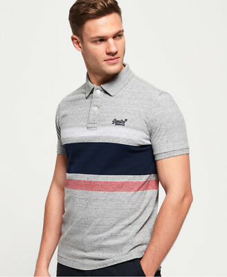 New Mens Superdry Classic Hardwick Stripe Harbour Grey Grindle