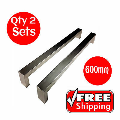 2 X ENTRANCE DOOR HANDLE PULL SET STAINLESS STEEL 600mm LONG SATIN FINISH SQUARE