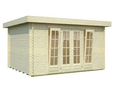 Single Roof Log Cabin House Garden Family Room Home Office Shed 12ft x 10ft