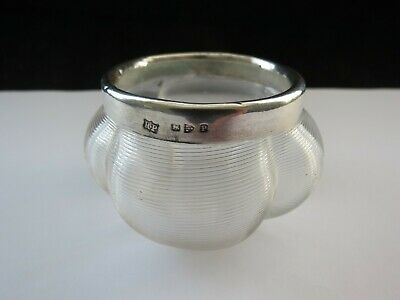 Victorian 1898 Scalloped Glass Match Striker Holder With Chester Silver Collar