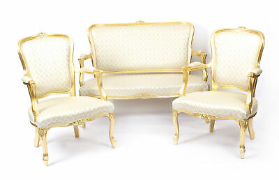 Superb Bespoke Louis Revival Giltwood Pair Armchairs & Sofa Suite