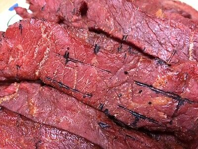 """1/2 POUND """"Charlie's"""" MESQUITE Wood Smoked Homemade Beef Jerky Strips"""