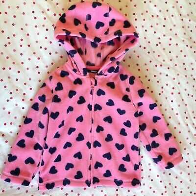 Girls Pink Fleece Heart Print Hoodie Jacket - 1.5-2 Years / 18-24 Months George