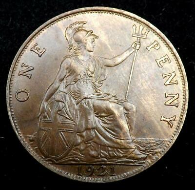 1921 George V 1d One Penny Coin - Great Britain Excellent Condition