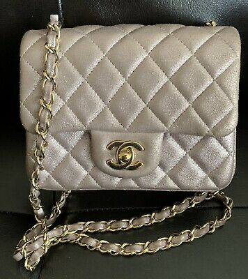 b9c24595ca11e9 Chanel Blue Calfskin Rectangular Mini Flap In Chevron With Light Gold  Hardware.
