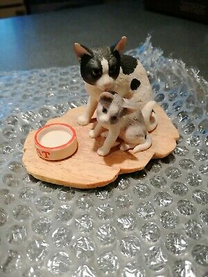 Rare Border Fine Arts vintage 1989 collectible Two cats Figurine by Ray Ayres.