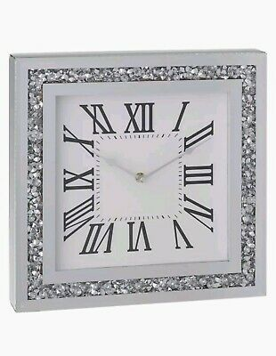 Diamond Crush Crystal Large Sparkly Silver Mirrored Square Wall Clock