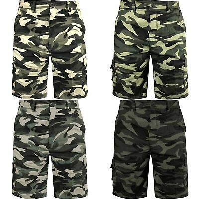 New Mens Camo Army Camouflage Cargo Elasticated Shorts Combat Half Pants M-6XL