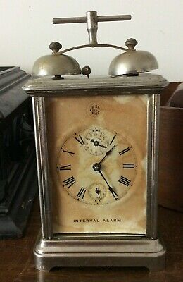 Antique GILBERT CLOCK CO WINSTED CT, INTERVAL ALARM CARRIAGE CLOCK, PAT 7/7/1885