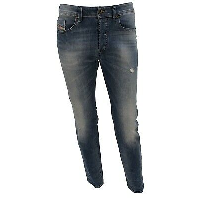 b04d850a Diesel Jeans BUSTER 0681W 01 Slim Tapered Medium Blue Strech Distressed  RRP200€