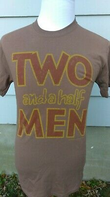NEW Brown Two and a Half Men Distressed CBS T Shirt Tee $20 MRSP NEW