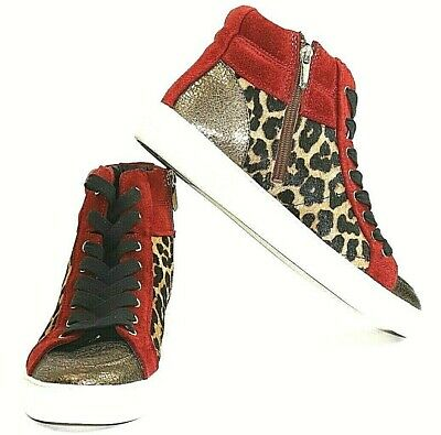 cda0a9a6641c30 Sam Edelman Women Red Suede Sneakers Britt High Top Leopard Dyed Cow Fur Sz  9.5M