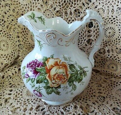 ANTIQUE PITCHER ROSES White Pottery Ironstone GARDEN CABBAGE ROSES Yellow Mauve