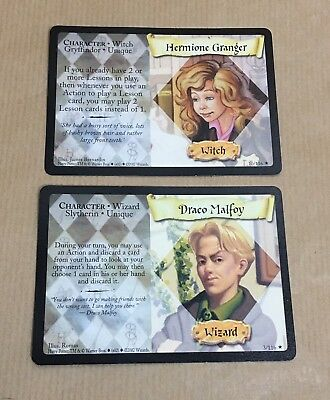 Harry Potter Trading Cards Hermione Granger & Draco Malfoy 2002 Witch & Wizard
