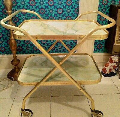Vintage Retro Folding Hostess Cocktail Tea Trolley 2 Tier Marble Effect