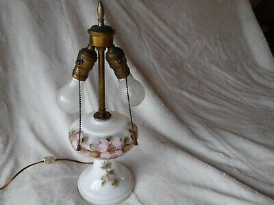 OLD Antique Milk Glass Lamp with Flowers tested and Works