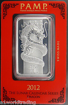 2012 New Pamp 1 Oz Silver Bar Sealed .999 Pure - Year Of The Dragon