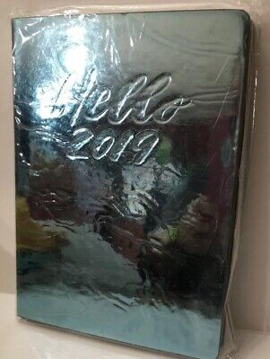Hello 2019 Weekly Agenda Planner Calendar Mirrored Blue Turquoise Soft Cover