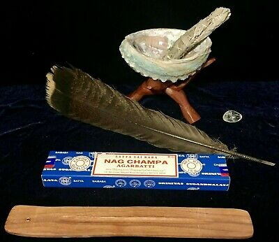 SMUDGE KIT ENERGY CLEARING SAGE ABALONE SHELL STAND CRYSTAL MEDITATION w INCENSE
