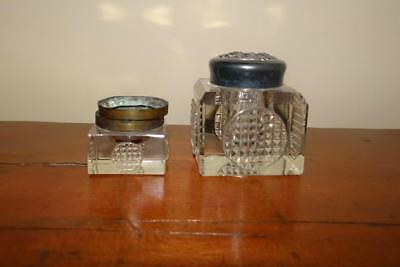 Lot of 2 Antique Cut Glass Inkwells - Quadruple Plate Lid