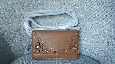 0eee55f6ae68 NWT Michael Kors Floral Embellished Pebbled Leather Convertible Crossbody  Bag