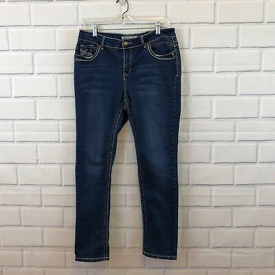 27707668444 Apollo Jeans Missy Womens Skinny Leg Size 10 Stretch Distressed Dark  Embroidered