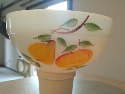 "Vintage White Large Fire-King ""Gay Fad"" Fruit Mixing Bowl 8.75"""