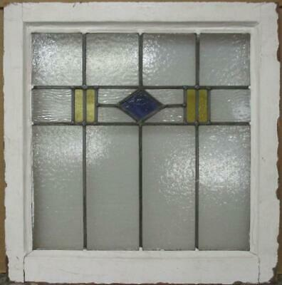 """OLD ENGLISH LEADED STAINED GLASS WINDOW Pretty Diamond Band Design 21"""" x 21.5"""""""