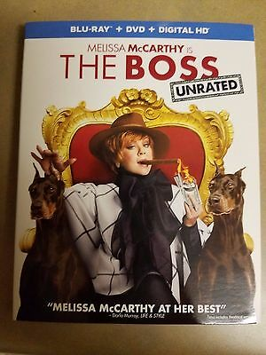 THE BOSS UNRATED 2016 BLU RAY DISC ONLY, w/case, slip cover (NO digital or dvd)