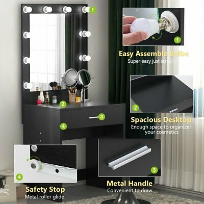 Women Lady Vanity Set With Lighted Mirror Makeup Dressing Table 10led Light