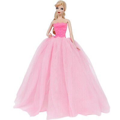 Purple Dress Wedding Party Gown Ball Clothes For 12 in. Girl Doll Toy Kids Gift