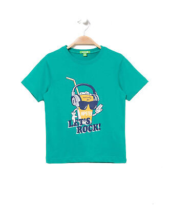 Bossini Green Theme Boys Short Sleeve Special Drink Print Tee 4t - 5/6,Green