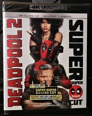Deadpool 2 4K Ultra HD/Blu-ray 4-new discs-w/Unrated Super Duper Cut!-No Digital