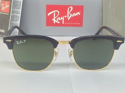 a756608274 Ray-Ban RB3016 Clubmaster Tortoise Frame Polarized Green G-15 Classic Lens  51mm