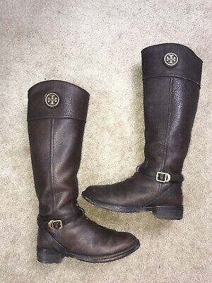 674f4742f239 TORY BURCH TERESA COCONUT TUMBLED LEATHER GOLD REVA TALL RIDING BOOTNw  495  7.5