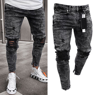 ec4cbb1d019a53 Mens Casual Denim Jeans Ripped Distressed Skinny Biker Jogger Long Trousers  Pant