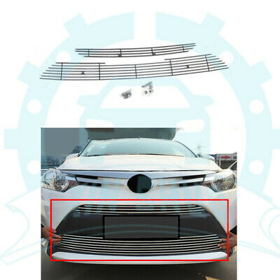 For Toyota Vios 2013-16 Chrome Front Bumper Upper+Lower Vent Hole Grille Grill