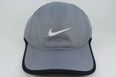2f880b87b85 Nike Feather Light Dri-Fit Adjust Cap Hat Gray white black Training Swoosh