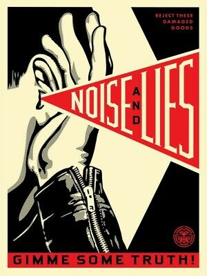 """Shepard Fairey Obey Giant """"NOISE & LIES"""" (CREAM) Screen Print Numbered & Signed"""