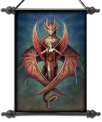 "Anne Stokes Scroll ""Copper Wings"" Dragon With Red Winged Angel"