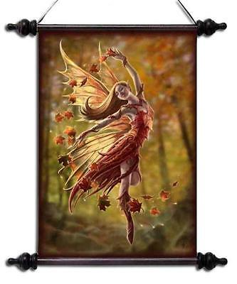 """Anne Stokes Scroll """"Autumn Fairy"""" Forest Fairy In Autumn Forest"""