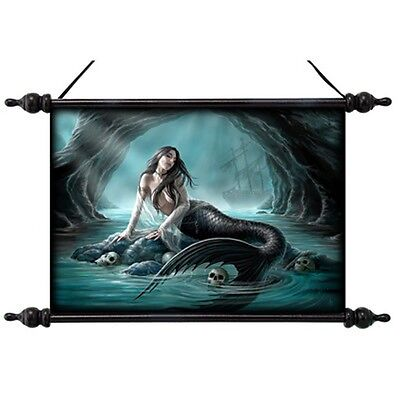 """Anne Stokes Scroll """"sirens Lament"""" Gothic Mermaid Resting In Cave With Skulls"""