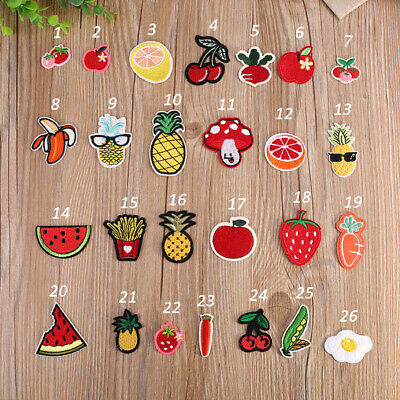 Embroidered Iron On/Sew On Cute Fruits Shirts Clothes Appliques Patches Transfer