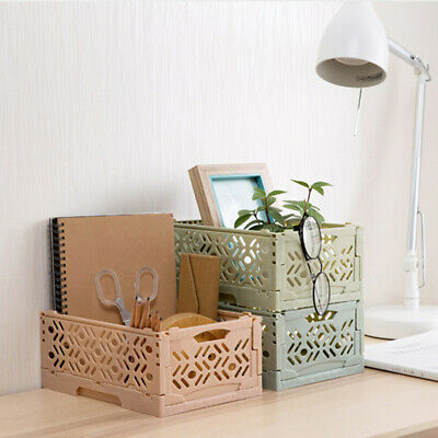 Plastic Folding Storage Container Basket Crate Box Stack Foldable Portable B
