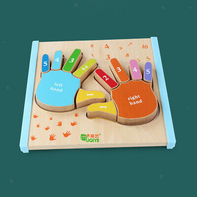 Kids Educational Wooden Puzzle Jigsaw Toy Gift Hands Left & Right
